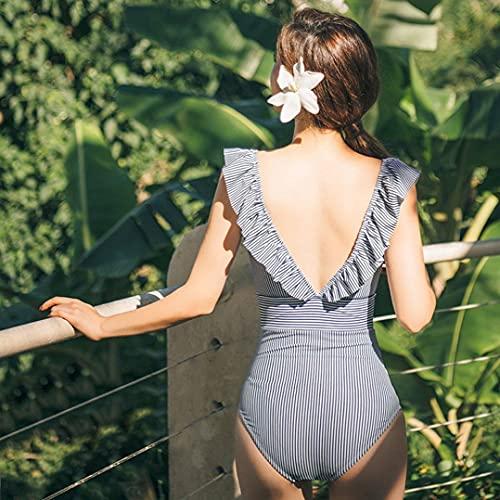 heekpek Conjuntos de Bikinis Traje De Baño Rayas de Una Pieza Bañador para Mujer Push Up Bikini Volante Fruncido V para Saco Tanga De Cintura Baja Adecuado Viajes Playa Swimsuit(Azul,S)