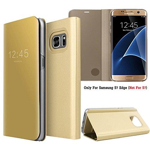 Guran® Mirror Efecto Espejo Funda para Samsung Galaxy S7 Edge Clear View Función de Soporte Plegable Smartphone Funda Protectora (Golden)