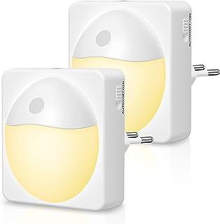 Veilleuse LED, [2 Pack] TOPYIYI Lampe Nuit Automatique 5 Niveau Luminosité avec Capteur de Crépuscule,Veilleuse Enfant Plu...