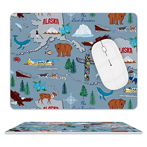 Gaming Mouse Pad Alaska Last Frontier Non-Slip Leather Base Mousepad Fast and Accurate Control Mouse Mat for Office/Home