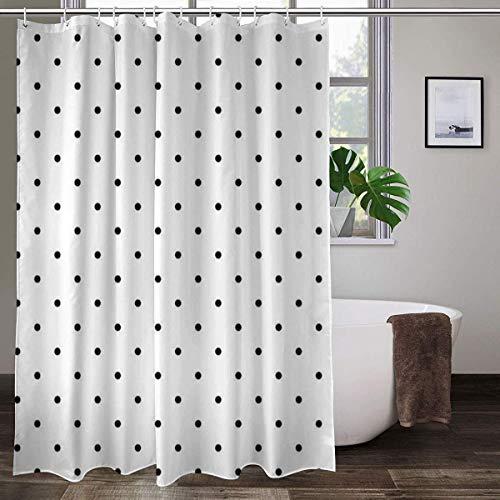 Cortina de ducha de tela con 12 ganchos, diseño de azulejos de lunares negros sobre fondo blanco, cortina decorativa de baño lavable a máquina, 183 x 183 cm