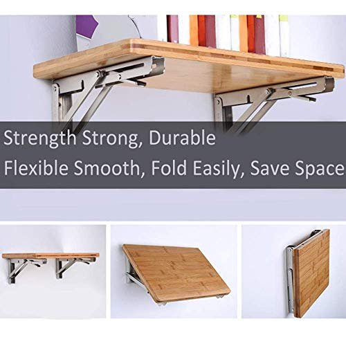 ZOMCHAIN Folding Shelf Brackets 12 inch Heavy Duty Stainless Steel Collapsible Bracket,Hinge Wall Mounted for Space Saving,Table Work Bench, DIY Bracket, 2 PCS