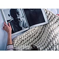 厚いウールの手編み毛布、ニット毛布、ウール毛布、ソファ毛布、厚い毛布超大型手編み糸ペットベッドチェアソファヨガマットラグ,White-60*80cm