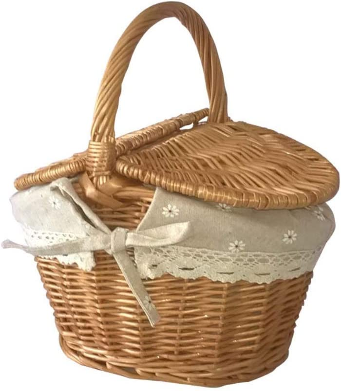 Forart Wicker Picnic Baskets Hamper with Lid and Handle, Wicker Gift Baskets Empty Oval Willow Woven Picnic Basket Candy Basket Storage Basket Wedding Basket