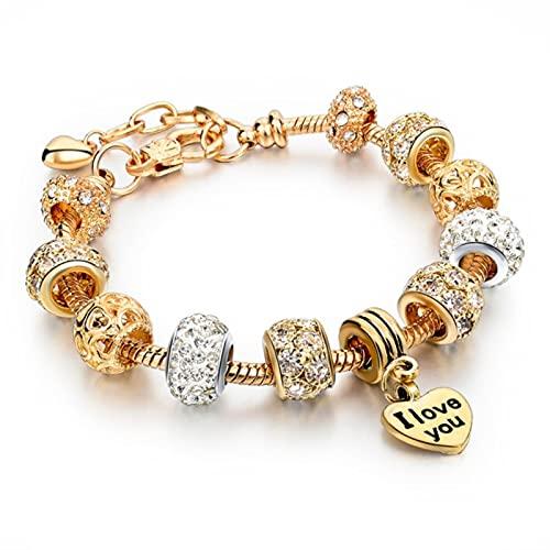 TTGE Fashion Antique Silver Plated Pa Bracelets & Bangles Crystal Heart Charm Beads Bracelet for Women DIY Original Jewelry Gift