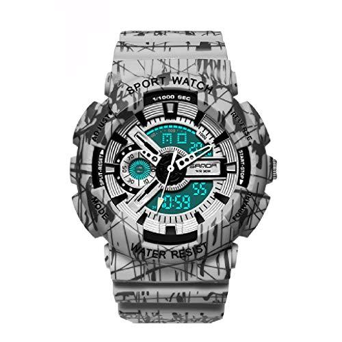 Lvmiao Relojes de Moda para Adolescentes, Relojes Deportivos Impermeables Luminosos, Relojes electrónicos de Pareja, Conjuntos de Relojes Reloj de Relojes de Relojes de Hombre,Man 1