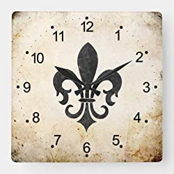 Dwi24isty Classic Wood Clock, Non Ticking Clock Vintage Accents French Fleur De Lis Square Wall Clock 15 Inch Decorative Clock for Kitchen Living Room