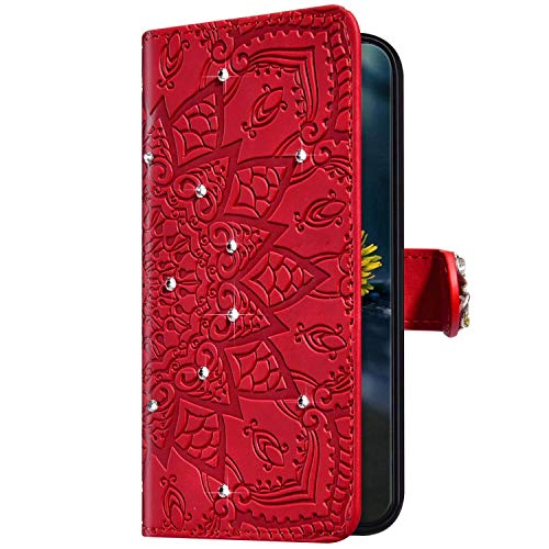 Uposao Kompatibel mit Samsung Galaxy A10e Hülle Handyhülle Glänzend Glitzer Bling Strass Diamant Mandala Blume Wallet Leder Hülle Tasche Klapphülle Brieftasche Schutzhülle Flip Case,Rot