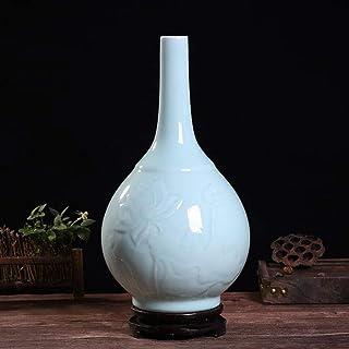 Ceramic Vase Household Office Wedding Azure Glaze Uneven Distribution Excellent Porcelain Jingdezhen Ceramics (Color : B)