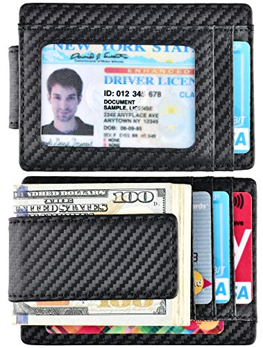 Money Clip, Front Pocket Wallet, Leather RFID Blocking Strong Magnet thin Wallet (Carbon Fiber ID Window B)