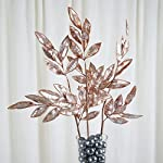 tableclothsfactory 2 pack | 28″ rose gold artificial glittered bay leaf display filler floral decoration for wedding bouquets