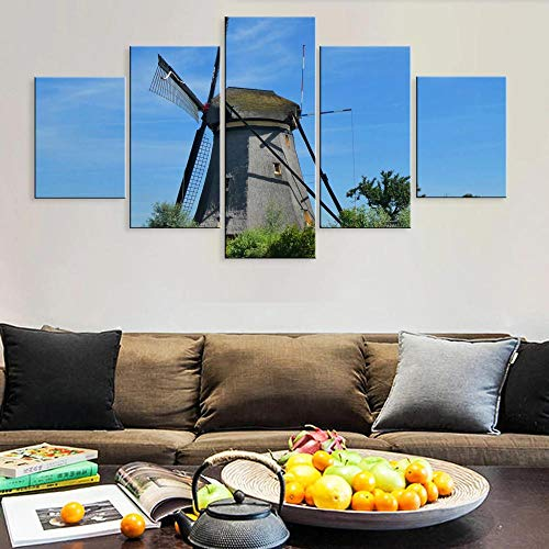 BHJIO 5 Piezas Cuadros Modernos Impresión De Imagen Artística Digitalizada Lienzo Decorativo para Tu Salón O Dormitorio Molino De Viento Hermoso Paisaje Paisaje Regalo 150 X 80 Cm.