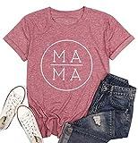 WANGBAO Mama Letter Printed T-Shirt for Women Cute Short Sleeve Shirt Mama Graphic