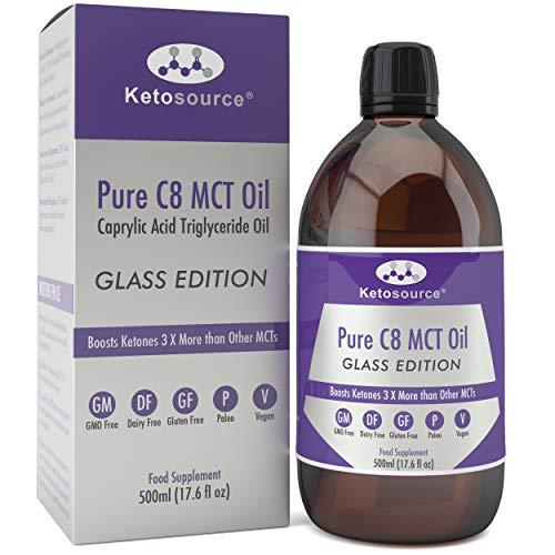 Premium C8 MCT Öl | Glasflasche | Produziert 3X Mehr Ketone als Andere MCT-Öle | Höchste verfügbare Reinheit mit 99,8{55640fdef54462a21cc76d5aa0770f238b9b38eaab3b79cd25a531b1dbfb38e5} | Reine Caprylsäure | Paläo/Vegan | Ketogen und Low Carb | Ketosource®