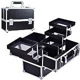 Hododou Makeup Train Case Box, 6 Trays Cosmetic Box Organizer, Lockable Makeup Box