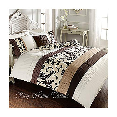 Duvet Quilt Cover Set with Pillowcases Reversible Polycotton Bedding (Scroll Cream/Brown, Double)