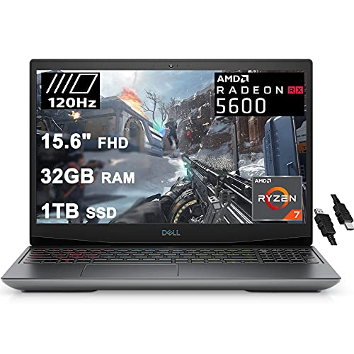 """Dell 2021 Flagship G5 15 Special Edition Gaming Laptop 15.6"""" FHD 120Hz Display AMD 8-Core Ryzen 7 4800H (Beat i7-10750H) 32GB RAM 1TB SSD Radeon RX 5600M 6GB Backlit USB-C Win10 + iCarp HDMI Cable"""
