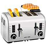 Toaster 4 Slice, Retro Small Stainless Steel Toaster with Bagel,Cancel,Defrost,Reheat Function,4 Slice Extra Wide Slot Toaster Best Rated Prime for Bread Toaster,Bagel Toaster