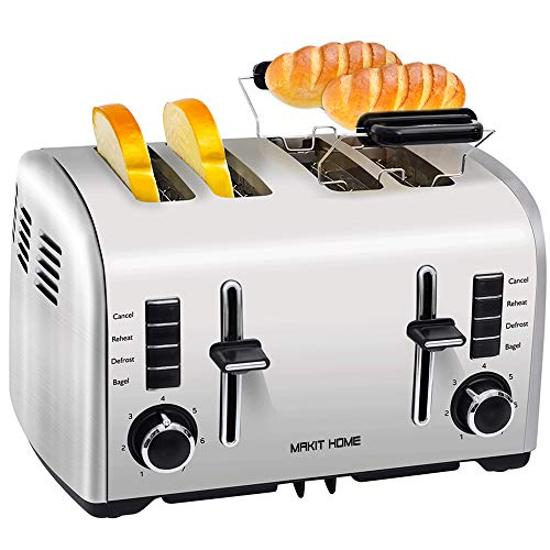 Toaster 4 Slice, Retro Small Stainless Steel Toaster with Bagel, Cancel, Defrost Function, Reheat Extra Wide Slot Compact Bread Top Rated Best Prime Toasters for Bread Waffles Small Retro Toaster Oven