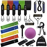 HiVehicle Resistance Bands Set 20pcs Home Workout Bands-5 Stackable Exercise Bands 5 Loop Resistance Bands Plus Jump Rope-Grip-Massager Ball with Door Anchor Handles Ankle Straps for Muscle Builder