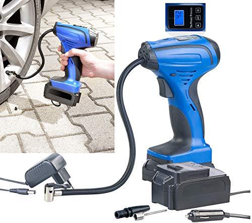 AGT Fahrradpumpe: Akku-Kompressor-Luftpumpe für Reifen, Bälle u.v.m, LCD, bis 116 psi (Auto Luftpumpe)