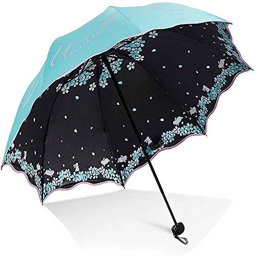 Paraguas, Fácil de transportar paraguas plegable Pliegue del paraguas tres, paraguas repelentes Protección solar con pegamento negro anti urvolla de revestimiento Uvolla, bloqueo UV (color: verde) Par
