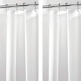 mDesign Plastic, Waterproof, Mold/Mildew Resistant, PEVA Shower Curtain Liner for Bathroom Showers and Bathtubs - No Odor - 3 Gauge, 72 inches x 72 inches - 2 Pack - White