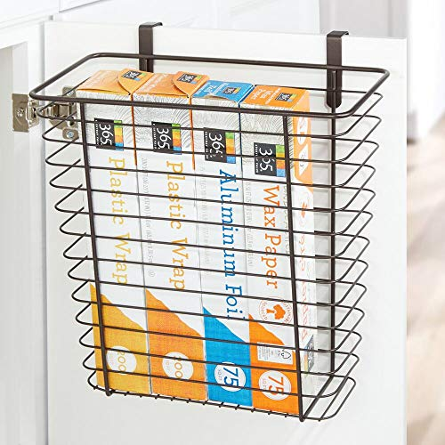 mDesign Metal Wire Hanging Over Door Kitchen Storage Organizer Basket/Trash Can - Hangs Over Cabinet Doors - For Bags, Tin Foil, Wax Paper, Saran Wrap - Solid Steel - Bronze