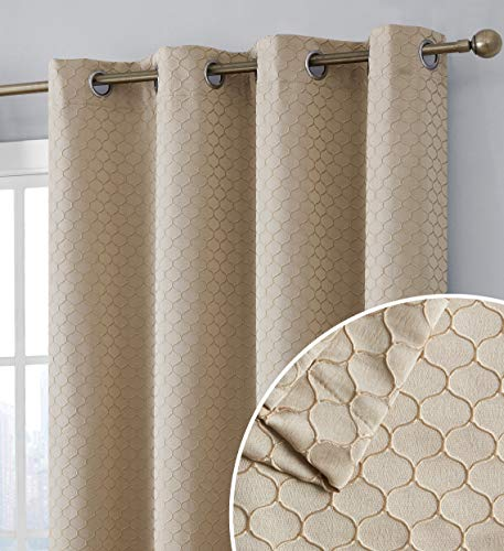 HLC.ME Siena 100% Blackout Thermal Insulated Complete Heat and Cold Blocking Window Curtain Grommet Panels for Living Room & Bedroom - Energy Savings & Soundproof, Set of 2 (50 x 84 inch Long, Taupe)