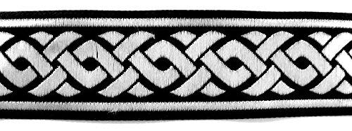 10m Keltische Borte Webband 35mm breit Farbe: Schwarz-Silber von 1A-Kurzwaren 35069-swsi