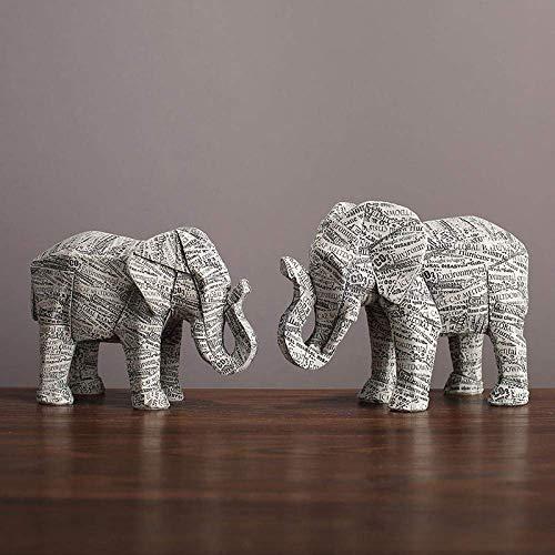 RFGTH Origami Elefante Animal Estatua hogar Resina decoración decoración Vino gabinete-A_21 * 9 * 15,5 + 19 * 8,5 * 13,5 CM