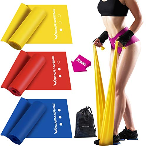 Exercise Resistance Bands Set,Workout Bands of 3 Different Strengths,5FT Long Sports Fitness Bands,Latex Free Elastic Stretch Bands for Physical Therapy,Yoga,Pilates,Stretching,Home Workout