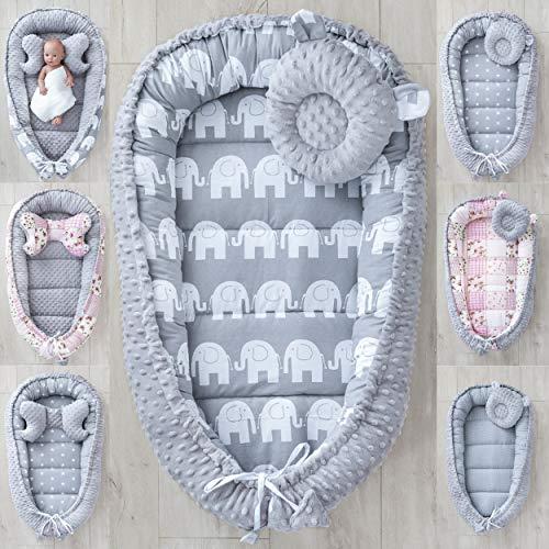 LOOLAY® 2seitig Kokon + Bärchen Kissen/Schmetterling Kissen für Neugeborene Plüsch MINKY Nestchen Babynestchen Babykokon Reisebett Säuglinge (Elefant grau/Minky grau)