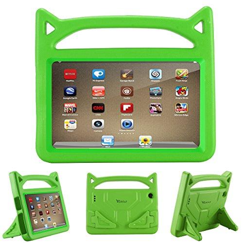 Riaour 2019-7 Tablet-Hülle (kompatibel mit der 7. Generation, 2017 Release/9. Generation, 2019) für Kinder, stoßfeste Schutzhülle mit Griff und Ständer für 7 Zoll Display Tablet S-grün