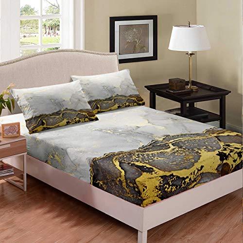 Juego de sábanas de mármol con purpurina dorada y líquido gris para cama de mármol líquido para niños y niñas vintage arte abstracto, con 1 funda de almohada de tamaño individual, decoración de cama
