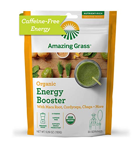 Amazing Grass Energy Booster: Energy Greens Powder, Maca, Cordyceps & Chaga, Smoothie Booster with Vitamin B, 30 Servings