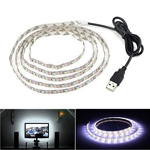 Striscia di illuminazione LED, retroilluminazione TV USB, 6.56 Ft 2 m, LED per televisori HD da 40-60 pollici, non impermeabile, bianco freddo
