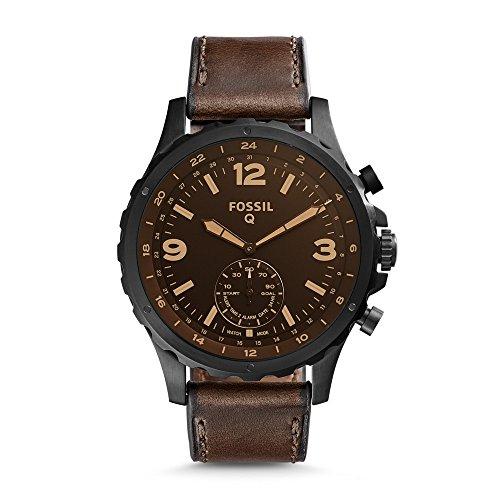 Fossil Q Herren-Smartwatch Nate, Edelstahl und Leder, Hybrid, Farbe: Schwarz, Braun, Modell: FTW1159