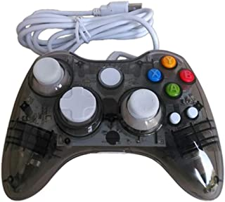 Wired Game Controller for Microsoft Xbox 360 Console/PC Windows7/8/10 - Transparent Colorfull LED Lights (Black)