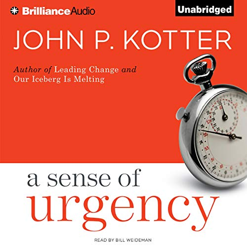 A Sense of Urgency                   By:                                                                                                                                 John P. Kotter                               Narrated by:                                                                                                                                 Bill Weideman                      Length: 4 hrs and 52 mins     4 ratings     Overall 4.3