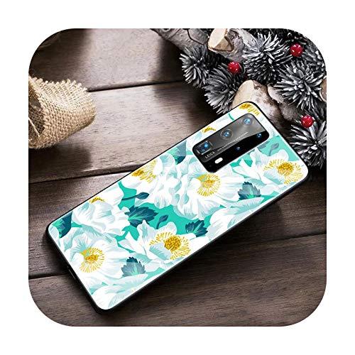 Funda de cristal templado con flores florales para Huawei P20 P30 P40 Lite P30 Pro P Smart Z Y6 Y7 Y9 2019 Y6p Y8s Y8p Funda-T12-para Huawei P40 Lite