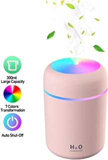 Baeskii Portable Mini Humidifier, 300ml USB Personal Desktop Humidifier with 7-Color LED Night Light, Auto-Off, Ultra-Quiet, Suitable for Home, Office, Baby Room, Car