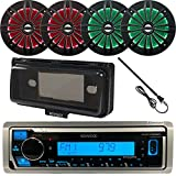 Kenwood MP3/USB/AUX Bluetooth Marine Boat Yacht Stereo Receiver Bundle with 4 x Enrock 6.5' 2-Way Black Speakers w/Multicolor LED Lighting + Enrock Waterproof Stereo Cover + Radio Antenna