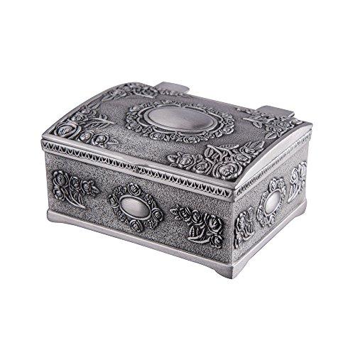Feyarl Pequeña caja de joyería vintage pequeña caja de tesoro caja de joyería pendientes anillos organizador almacenamiento floral grabado superficie (6,6 x 5,6 x 3 cm)