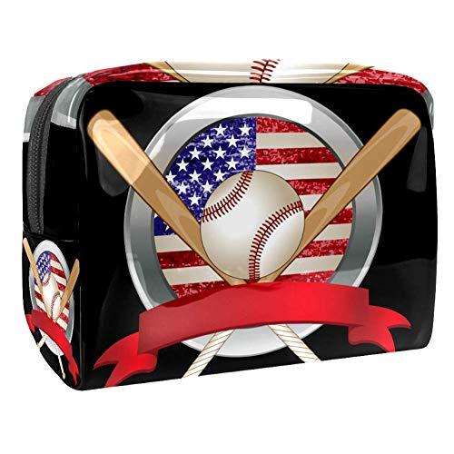 Make-up Taschen Baseball mit amerikanischer Flagge Kulturbeutel Kosmetiktasche Waschtasche für Kinder Frauen Mädchen Damen 18.5x7.5x13cm