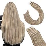 Ugeat 35cm Haarverlängerung Tape Echthaar Strähnen Kleber Tape Extensions 20Stucke 50GR/Pack Tape in Extensions Echthaar Natürlich #P18/613 Aschblond Highlights Bleichblond