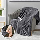 Microplush Heated Throw Blanket with Foot Pocket | Electric Lap Blankets for Office | Keeps Toes Toasty | UL Certified & Low EMF | Lower Power Bill | Tucked Power Cord – 3 Heat Settings, 50x62 Grey