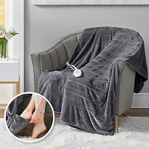 Heated Throw Blanket w/ Foot Pocket Keeps Toes Toasty | UL Certified & Low EMF Radiation | Lower Power Bill & Relieve Sore Muscles/Joints – Tucked Power Cord – 3 Heat Settings, 50x62' Grey