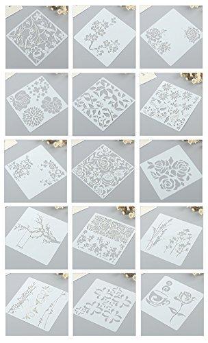 Ai-life 15 Stück quadratische Form Blumenmuster Zeichenschablonen Weihnachten Schablone Kunststoff Zeichnung Skala Malen Multifunktionale Zeichnung Lineal, 13x13cm