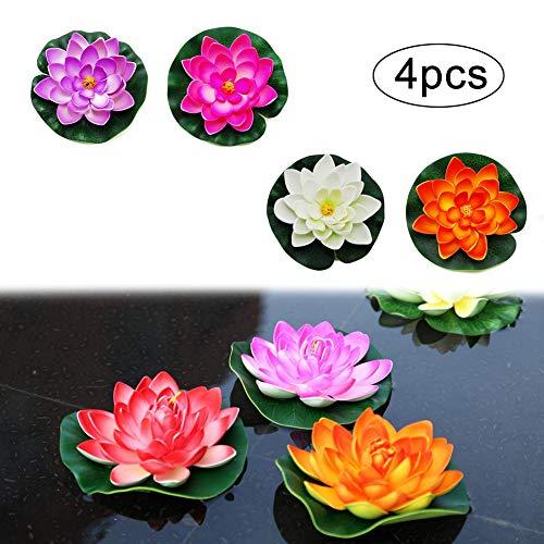 Künstliche Seerose Schwimmender Teich Dekor Seerose Pflanzen für Teiche Lotus Schaum Blumenpflanzen Dekor Klein (4Er-Set)